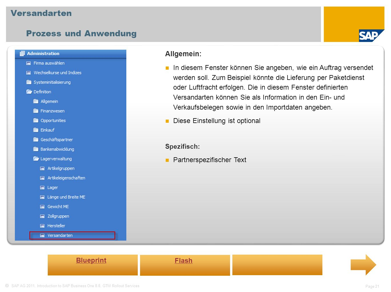 Versandarten Prozess und Anwendung Allgemein: