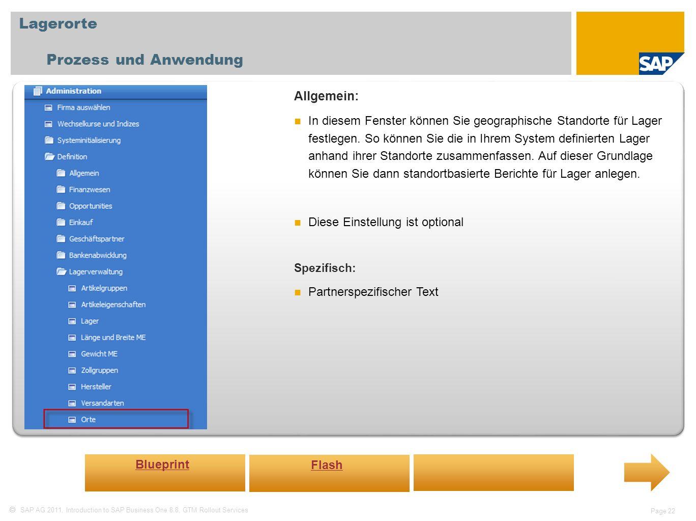 Lagerorte Prozess und Anwendung Allgemein: