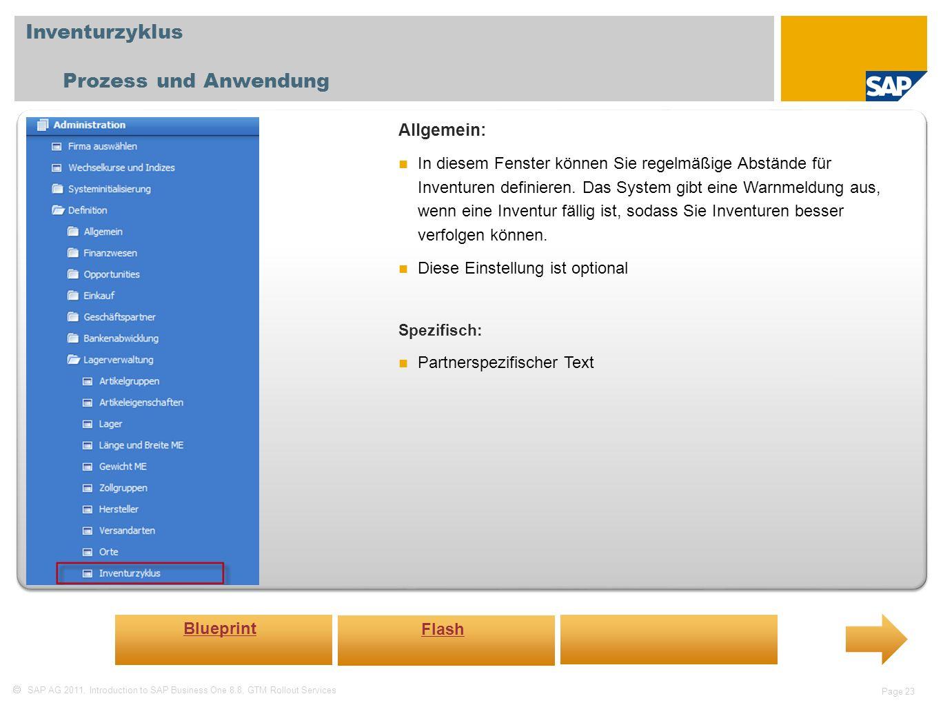 Inventurzyklus Prozess und Anwendung Allgemein: