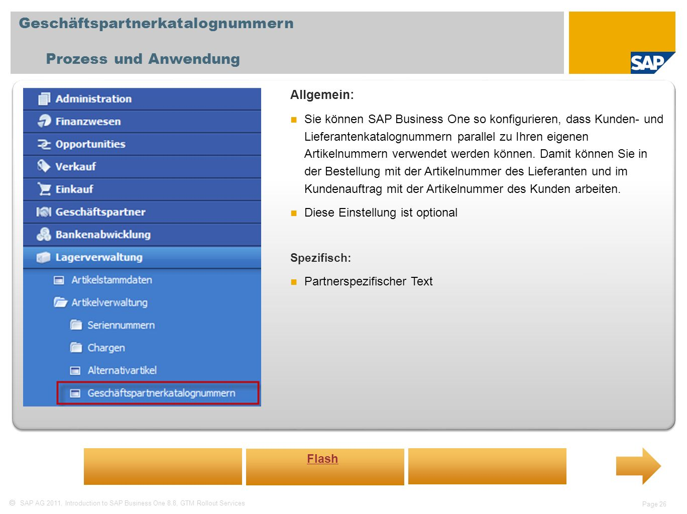 Geschäftspartnerkatalognummern Prozess und Anwendung