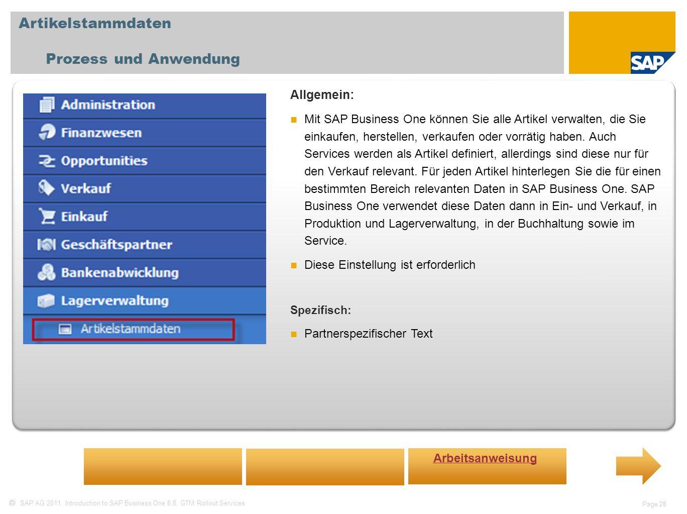 Artikelstammdaten Prozess und Anwendung Allgemein: