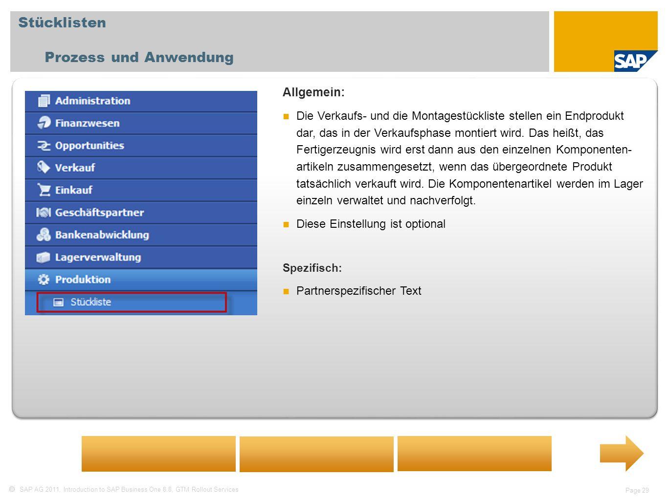 Stücklisten Prozess und Anwendung Allgemein: