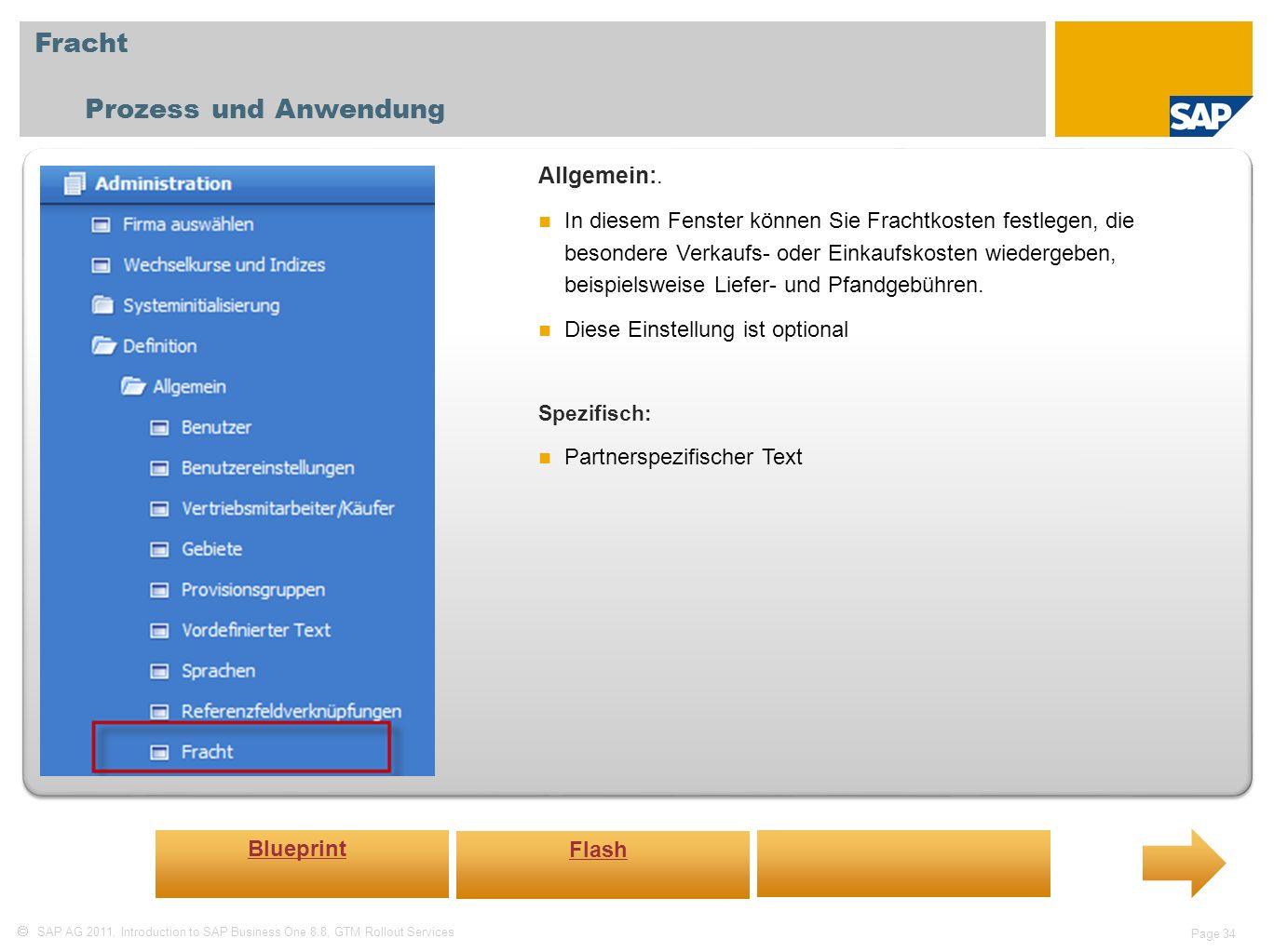 Fracht Prozess und Anwendung Allgemein:.