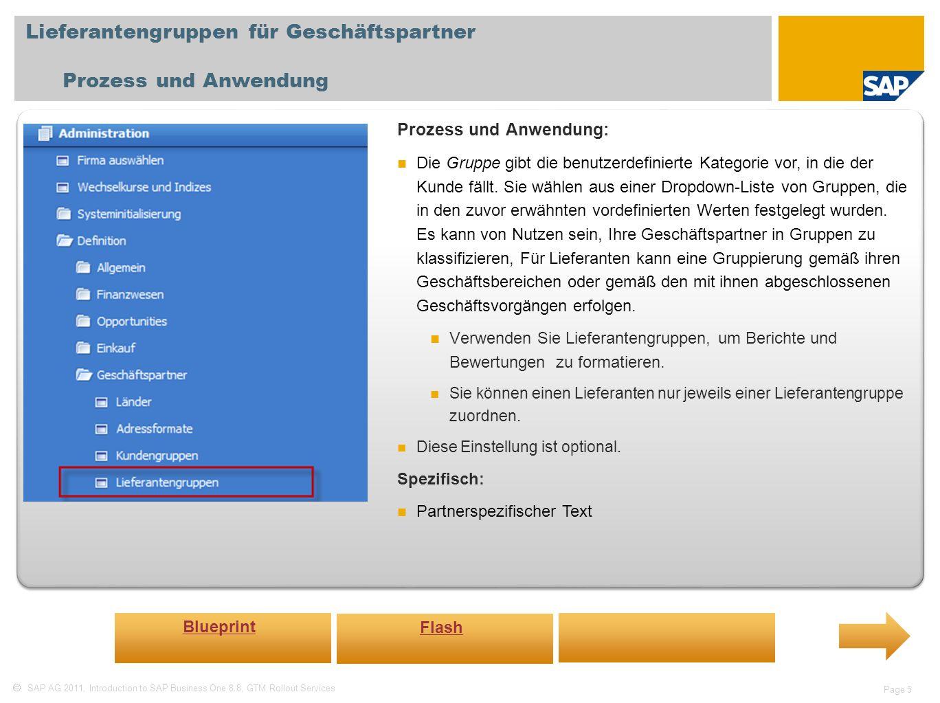 Lieferantengruppen für Geschäftspartner Prozess und Anwendung