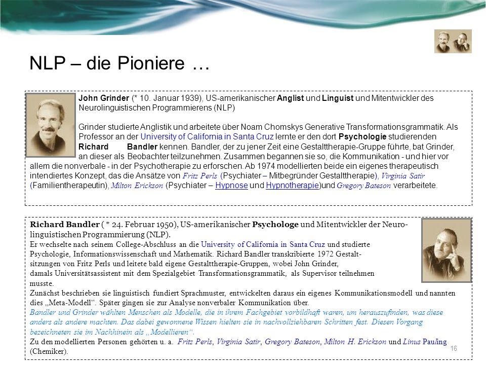 NLP – die Pioniere …