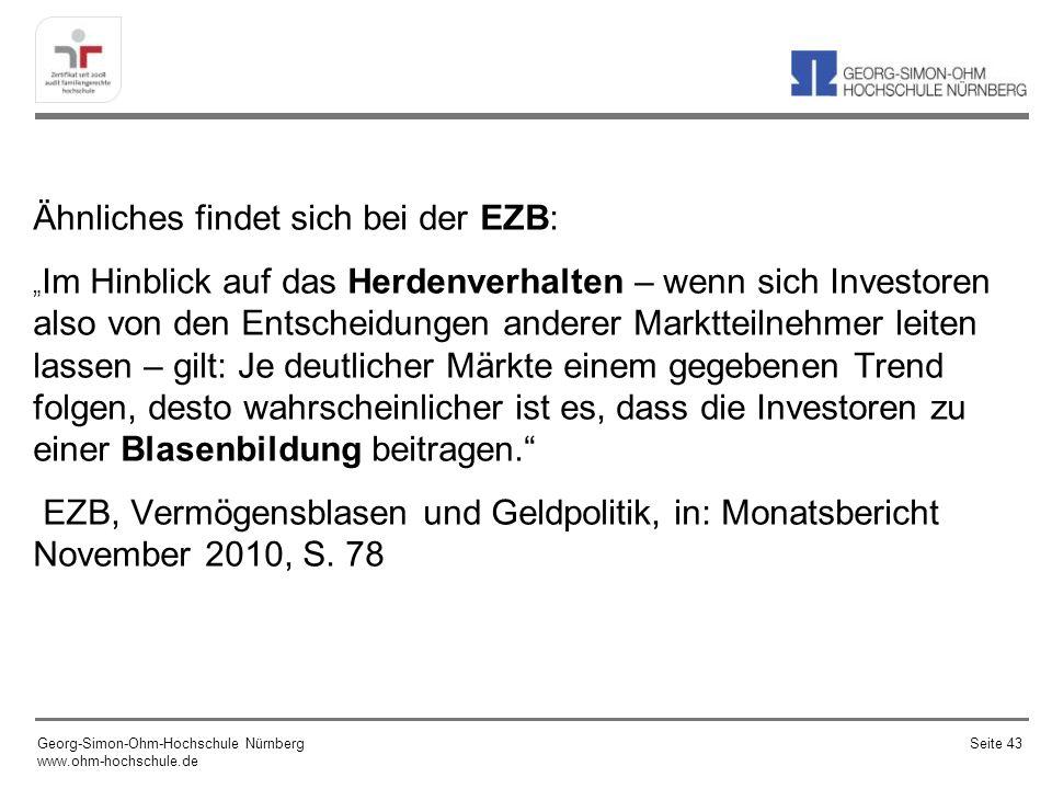 Ähnliches findet sich bei der EZB: