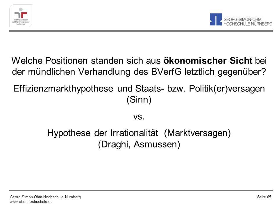 Welche Positionen standen sich aus ökonomischer Sicht bei der mündlichen Verhandlung des BVerfG letztlich gegenüber Effizienzmarkthypothese und Staats- bzw. Politik(er)versagen (Sinn) vs. Hypothese der Irrationalität (Marktversagen) (Draghi, Asmussen)