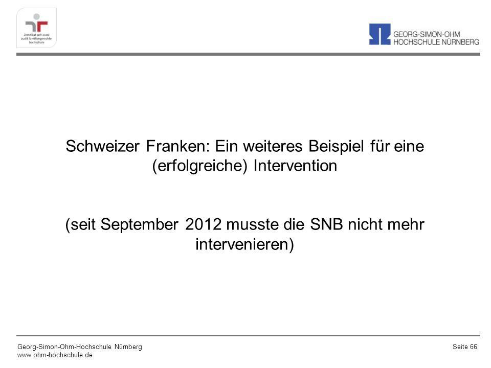 Schweizer Franken: Ein weiteres Beispiel für eine (erfolgreiche) Intervention (seit September 2012 musste die SNB nicht mehr intervenieren)