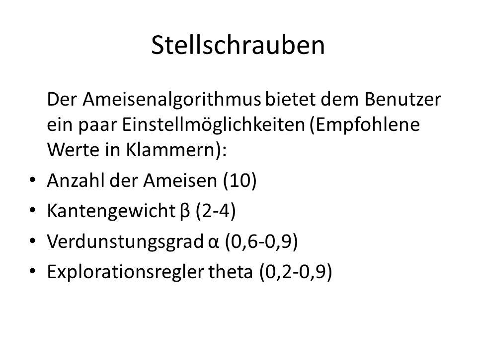 Stellschrauben Der Ameisenalgorithmus bietet dem Benutzer ein paar Einstellmöglichkeiten (Empfohlene Werte in Klammern):