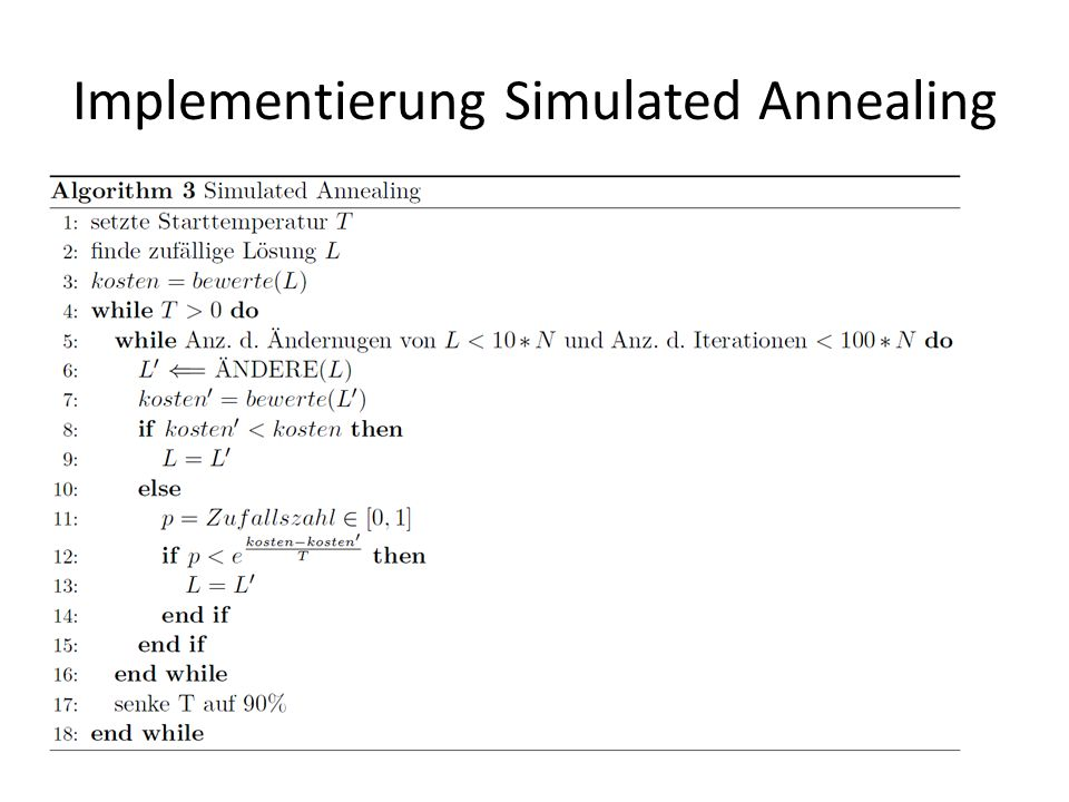 Implementierung Simulated Annealing