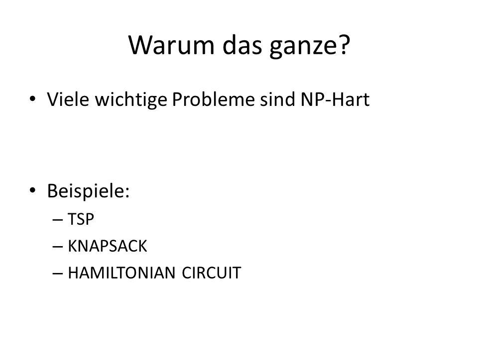 Warum das ganze Viele wichtige Probleme sind NP-Hart Beispiele: TSP