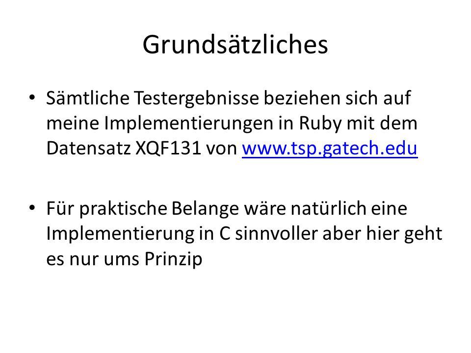 Grundsätzliches Sämtliche Testergebnisse beziehen sich auf meine Implementierungen in Ruby mit dem Datensatz XQF131 von www.tsp.gatech.edu.
