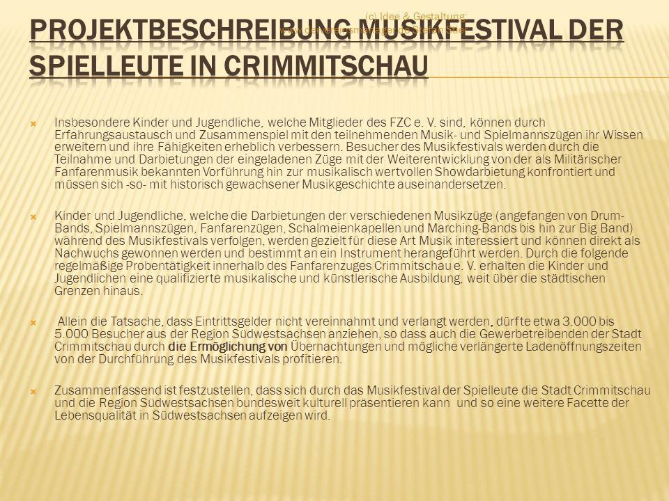 Projektbeschreibung Musikfestival der Spielleute in Crimmitschau