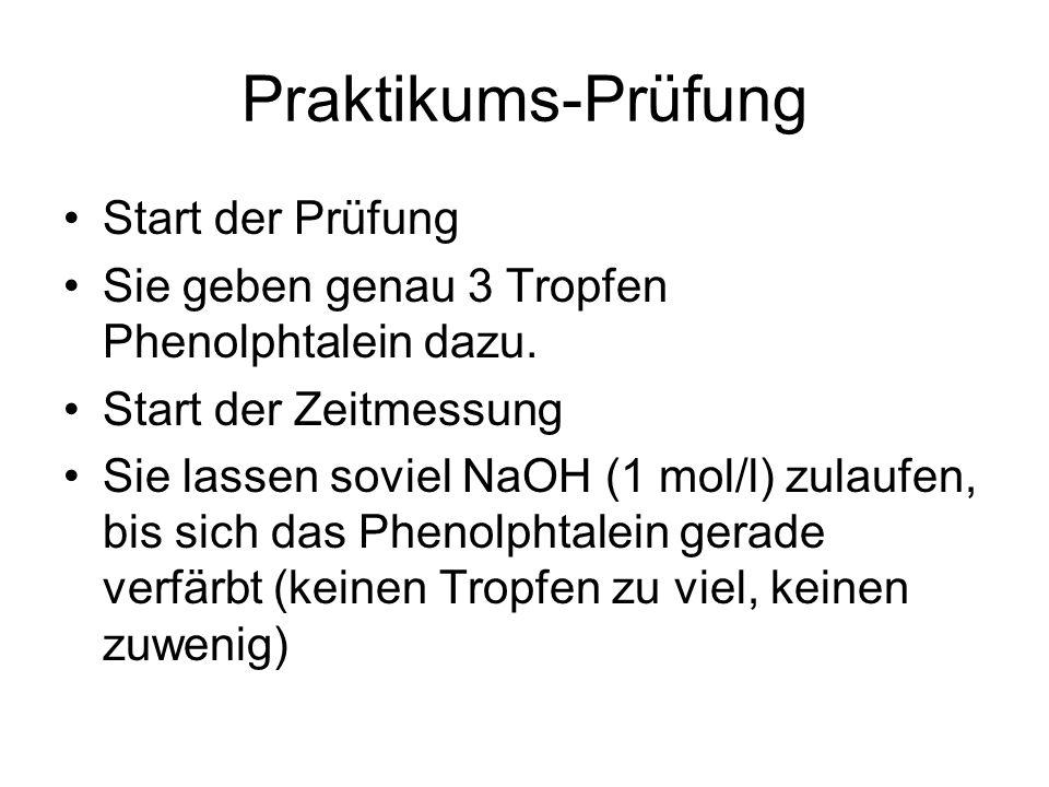 Praktikums-Prüfung Start der Prüfung