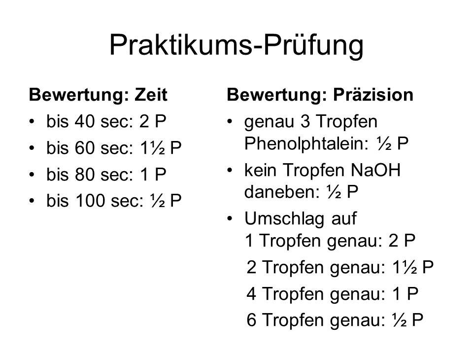 Praktikums-Prüfung Bewertung: Zeit bis 40 sec: 2 P bis 60 sec: 1½ P