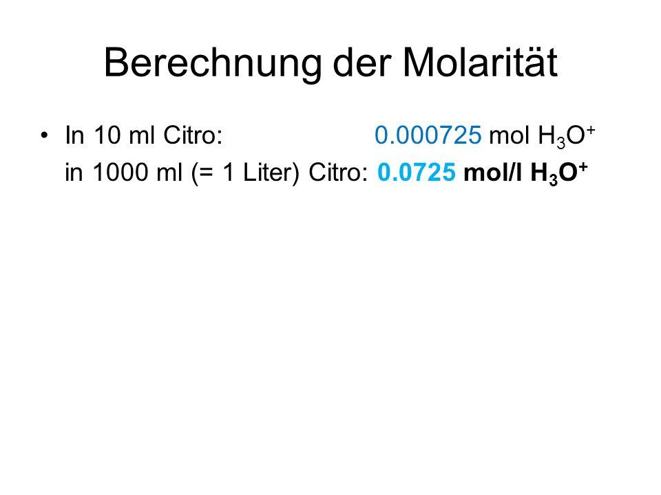 Berechnung der Molarität