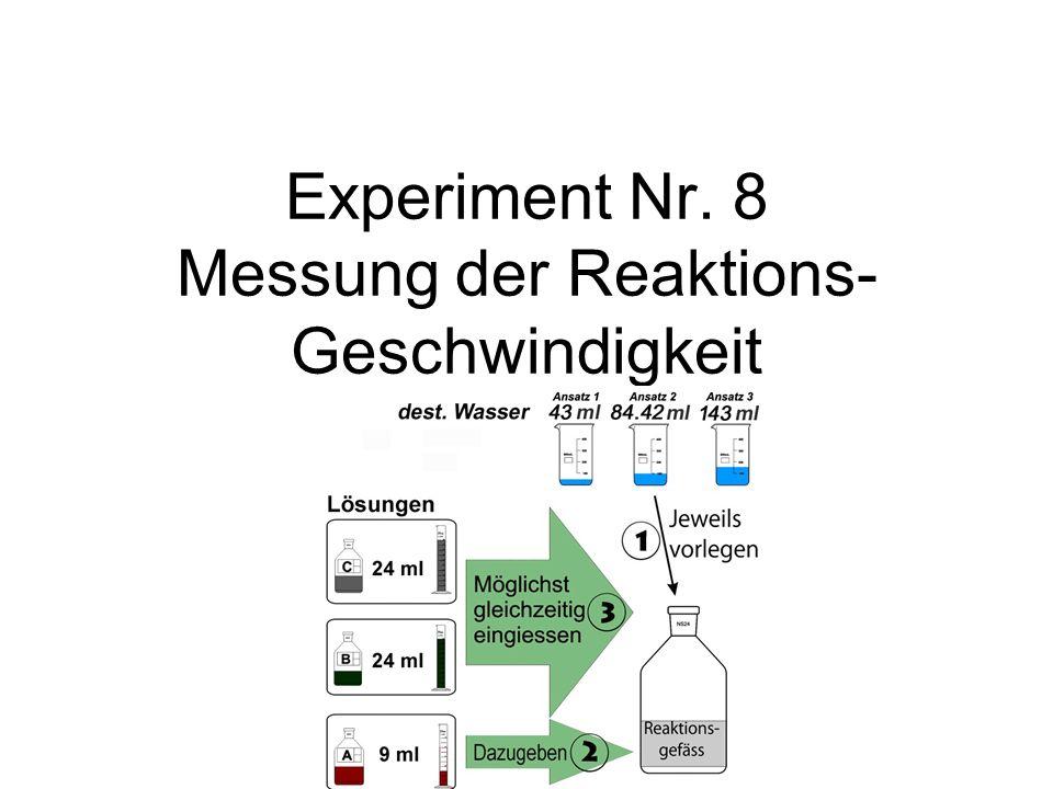 Experiment Nr. 8 Messung der Reaktions-Geschwindigkeit