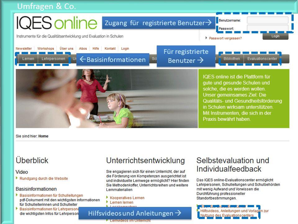 Umfragen & Co. Zugang für registrierte Benutzer