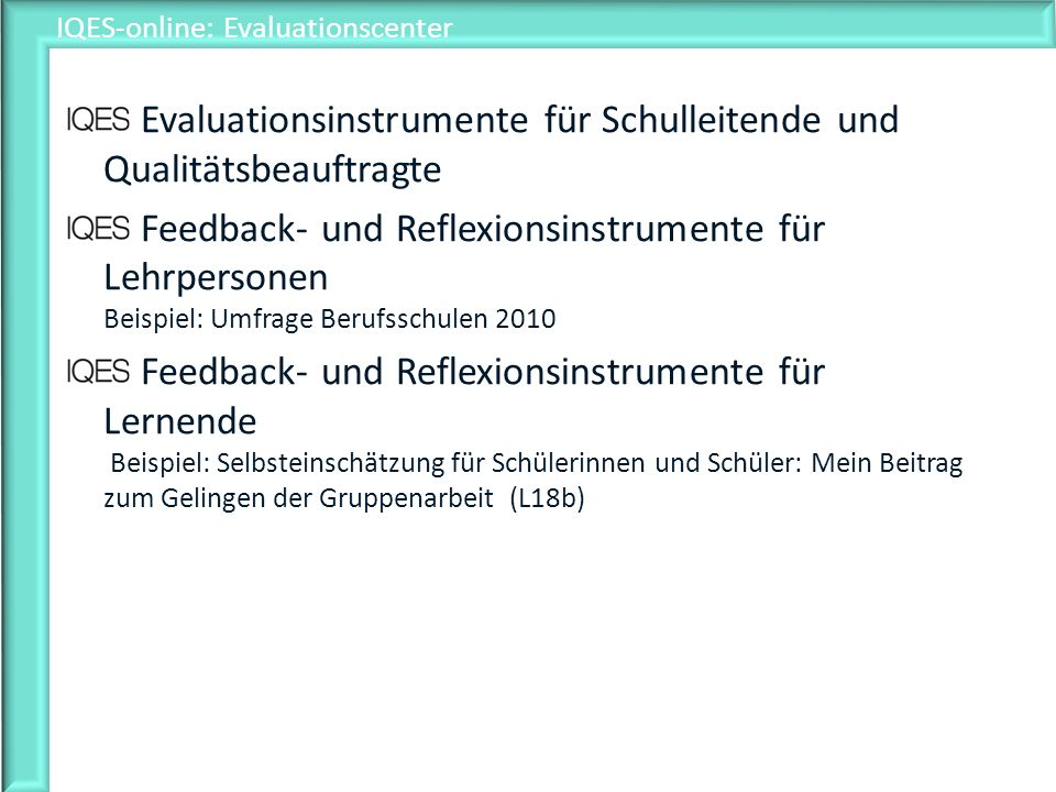 IQES-online: Evaluationscenter