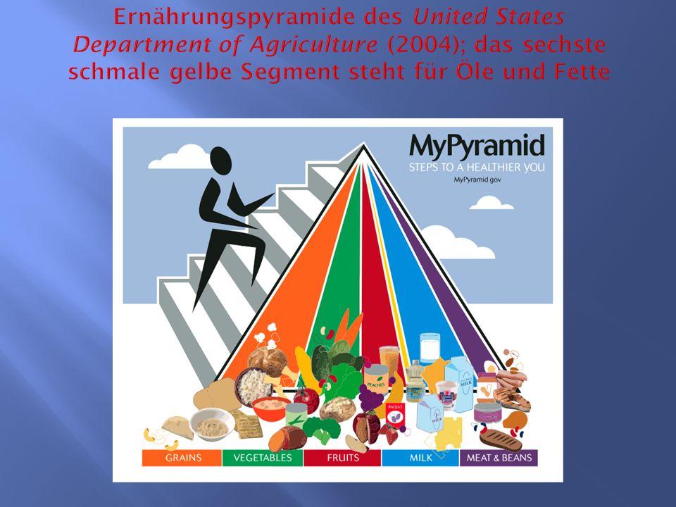 Ernährungspyramide des United States Department of Agriculture (2004); das sechste schmale gelbe Segment steht für Öle und Fette
