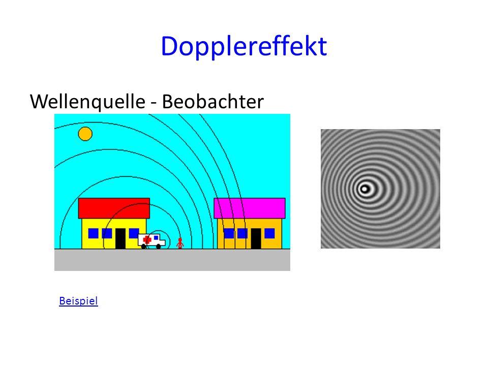 Dopplereffekt Wellenquelle - Beobachter Beispiel