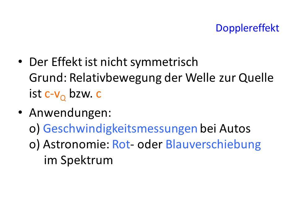Dopplereffekt Der Effekt ist nicht symmetrisch Grund: Relativbewegung der Welle zur Quelle ist c-vQ bzw. c.