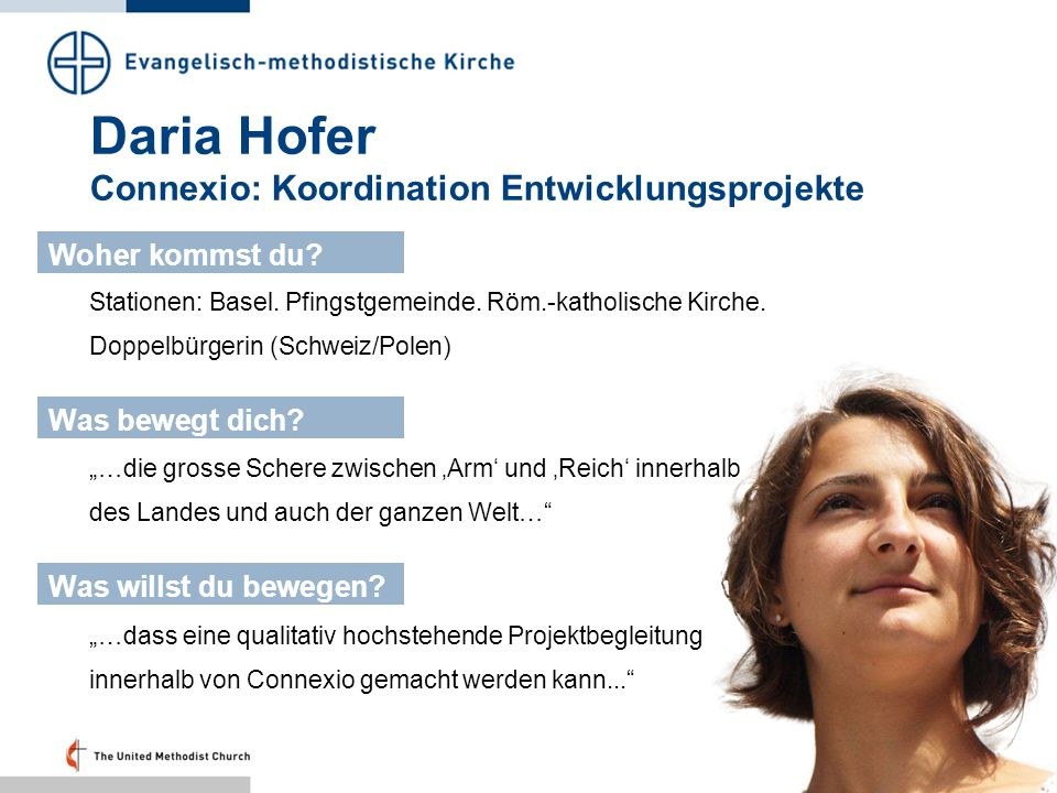 Daria Hofer Connexio: Koordination Entwicklungsprojekte
