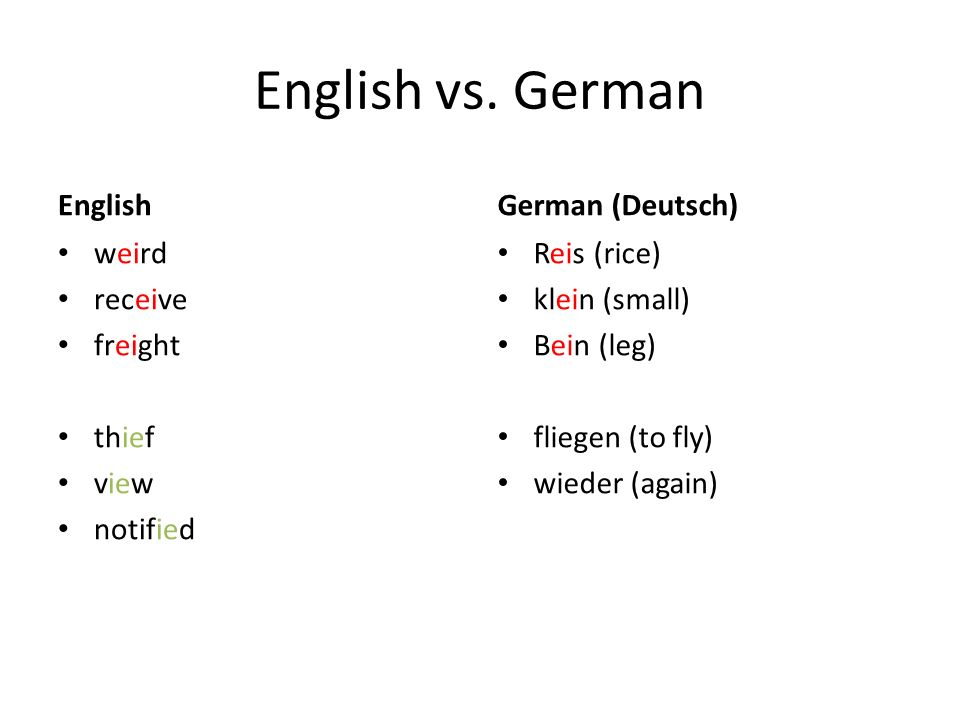 English vs. German English German (Deutsch) weird receive freight