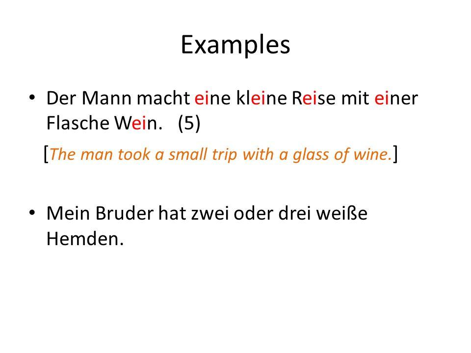 Examples Der Mann macht eine kleine Reise mit einer Flasche Wein. (5)
