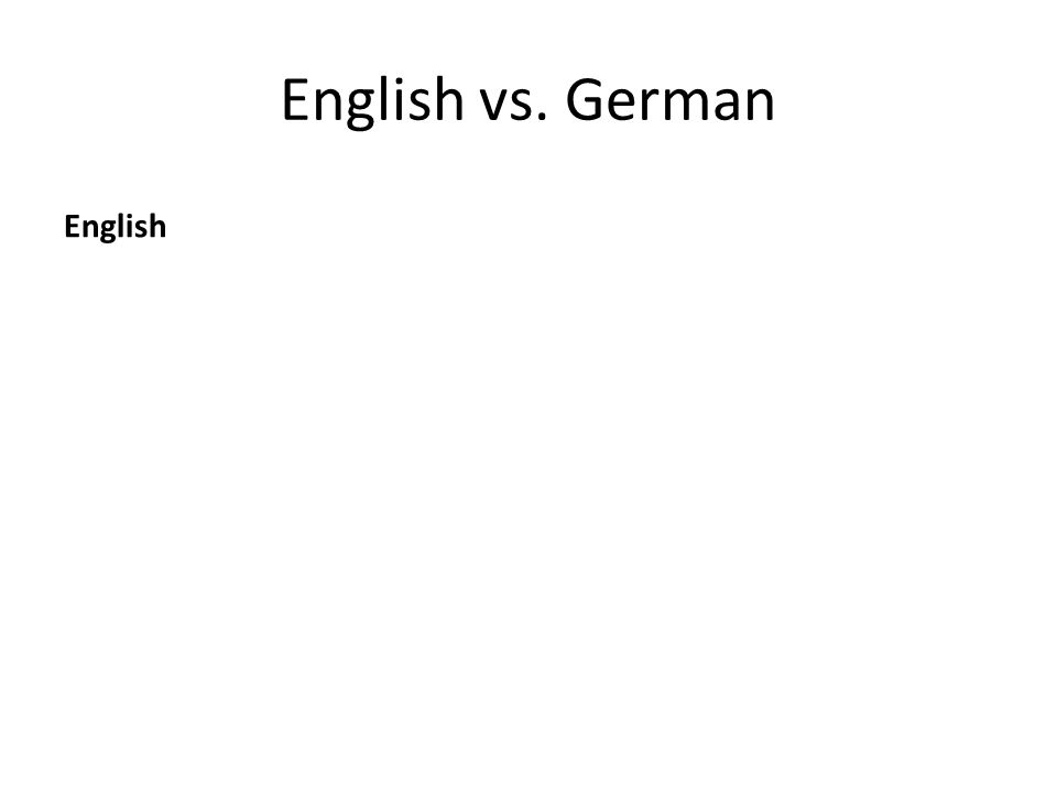 English vs. German English
