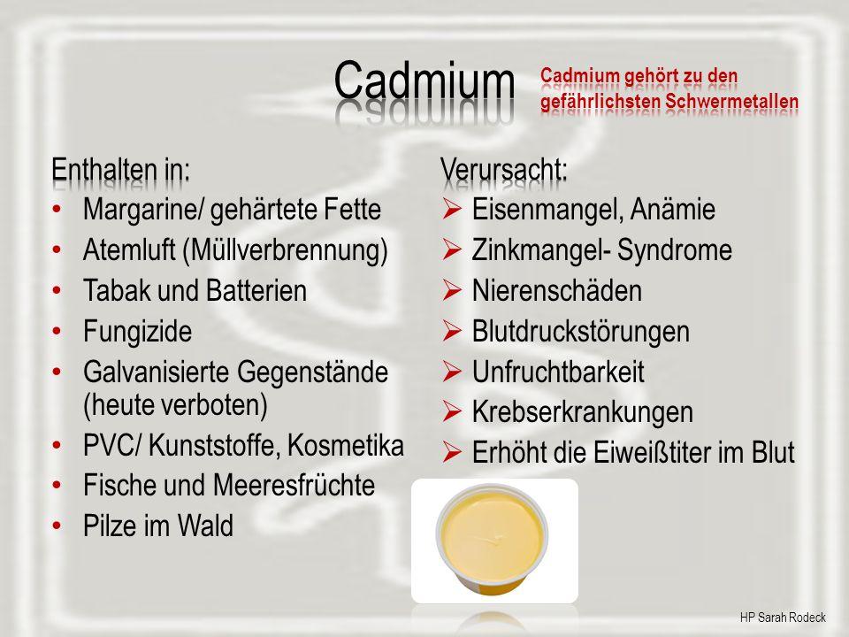 Cadmium Enthalten in: Margarine/ gehärtete Fette