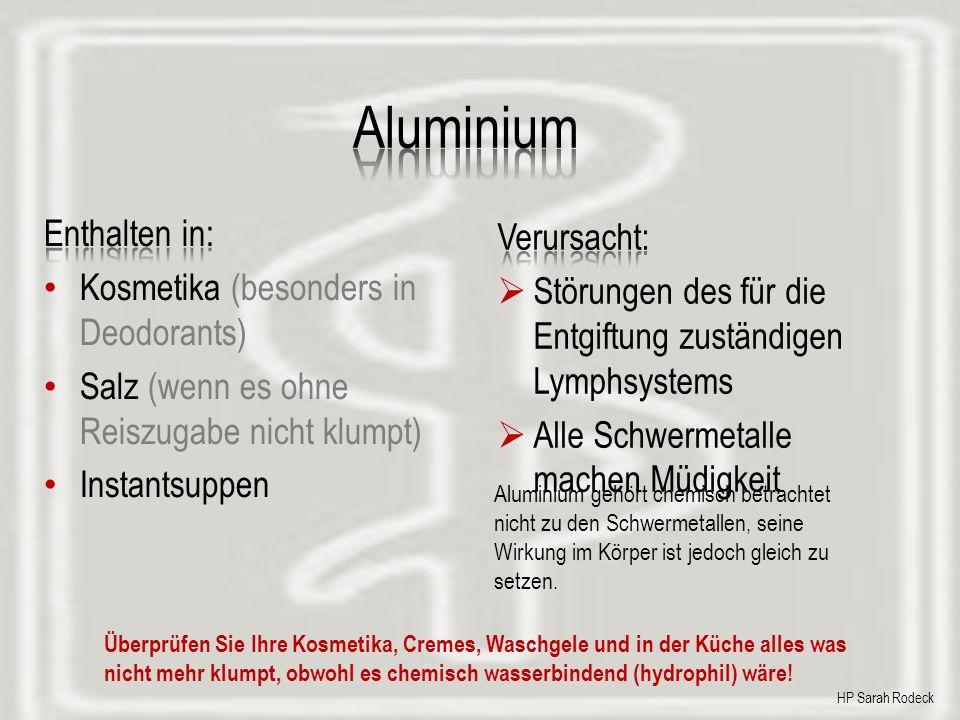 Aluminium Enthalten in: Verursacht: