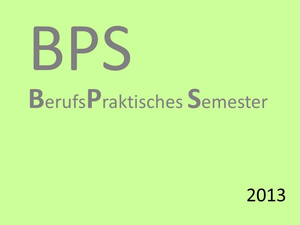 BPS BerufsPraktisches Semester 2013