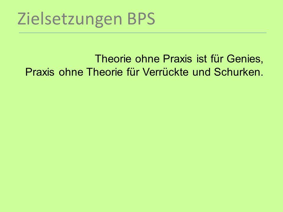 Zielsetzungen BPS Theorie ohne Praxis ist für Genies,
