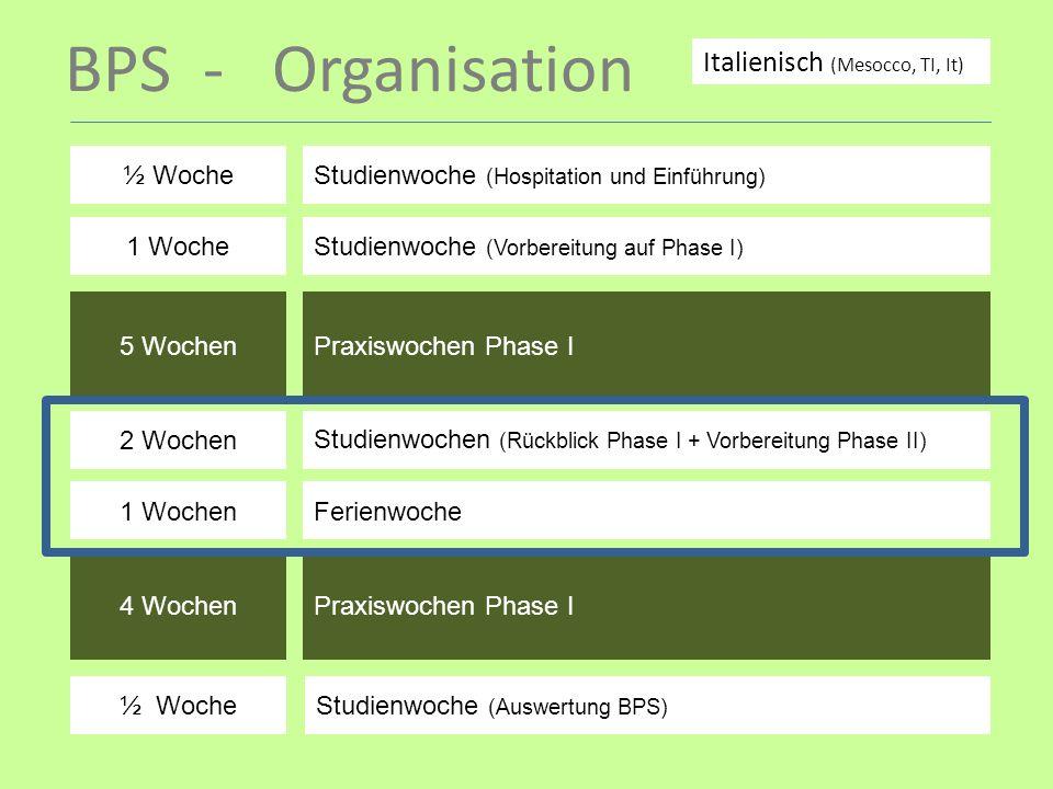 BPS - Organisation Italienisch (Mesocco, TI, It) ½ Woche