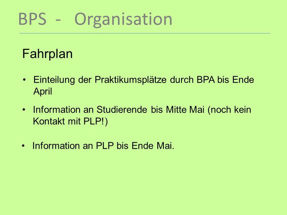 BPS - Organisation Fahrplan