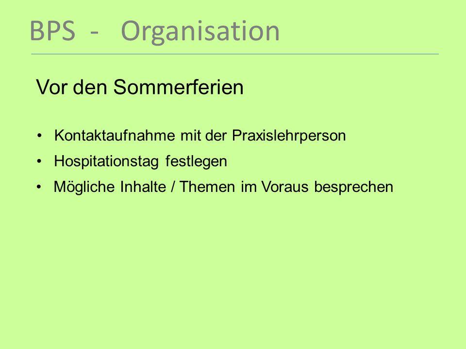 BPS - Organisation Vor den Sommerferien