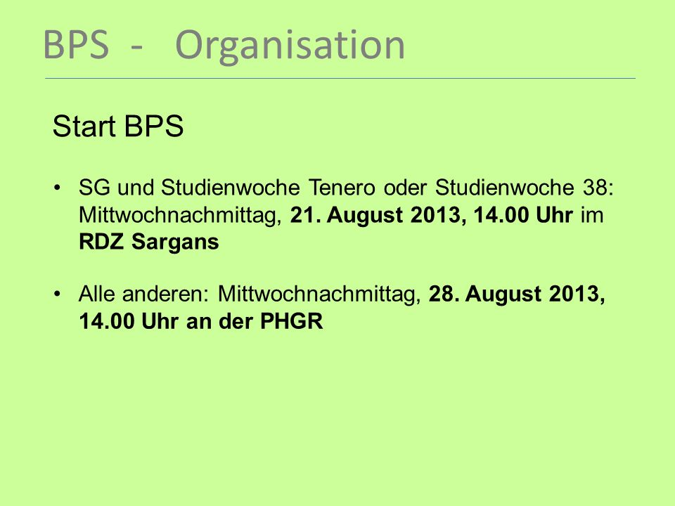 BPS - Organisation Start BPS