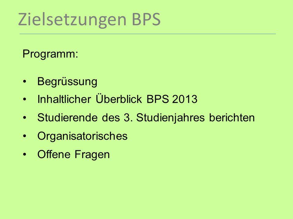Zielsetzungen BPS Programm: Begrüssung Inhaltlicher Überblick BPS 2013