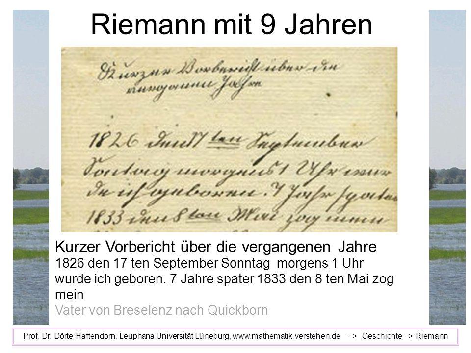 Riemann mit 9 Jahren Kurzer Vorbericht über die vergangenen Jahre