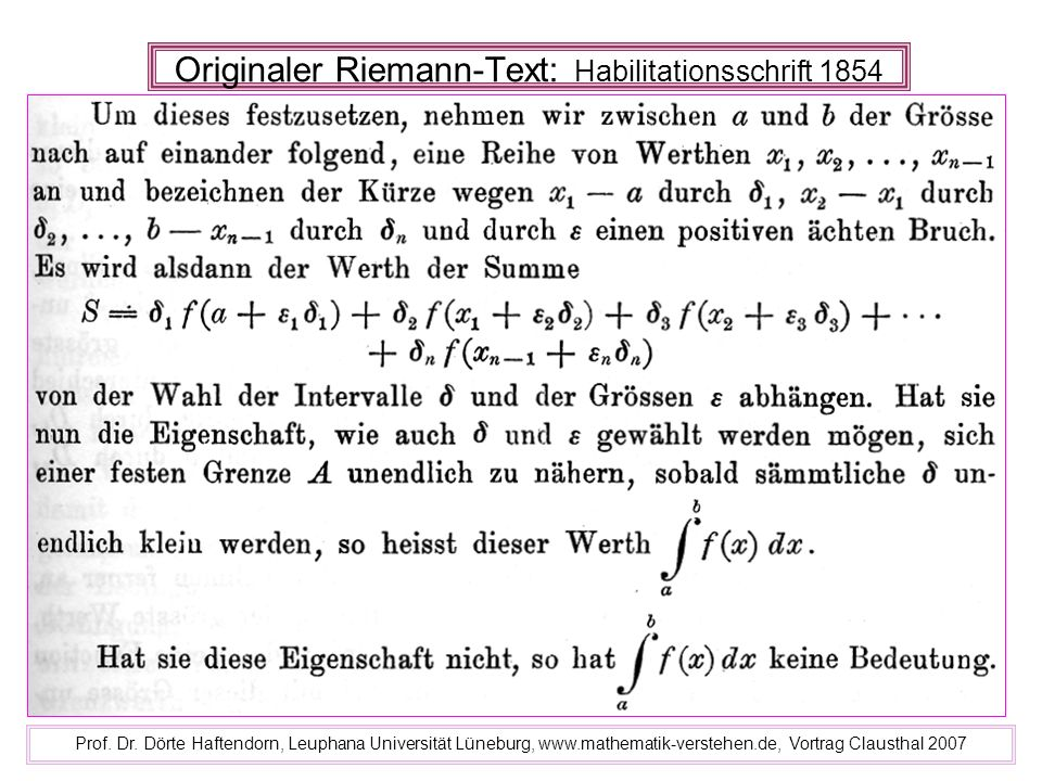 Originaler Riemann-Text: Habilitationsschrift 1854