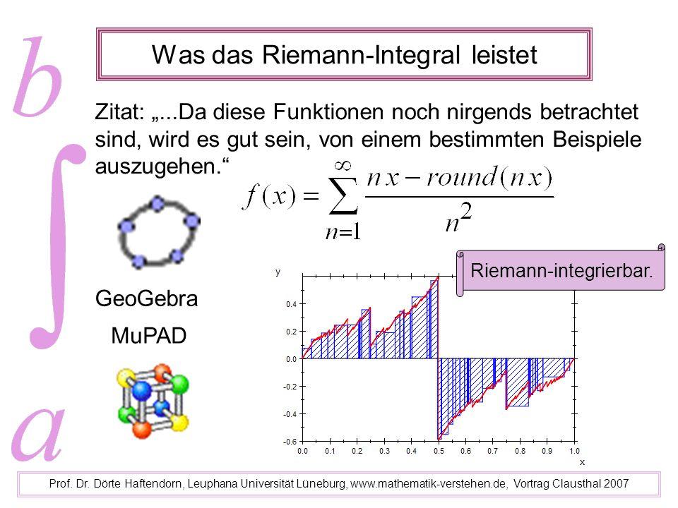 Was das Riemann-Integral leistet