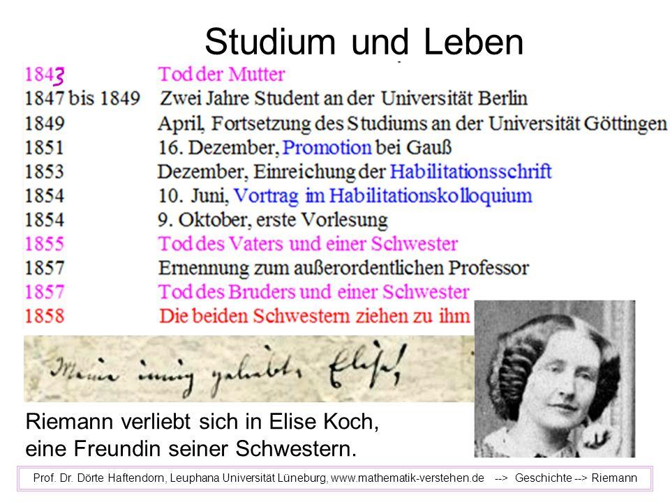 Studium und Leben Riemann verliebt sich in Elise Koch,