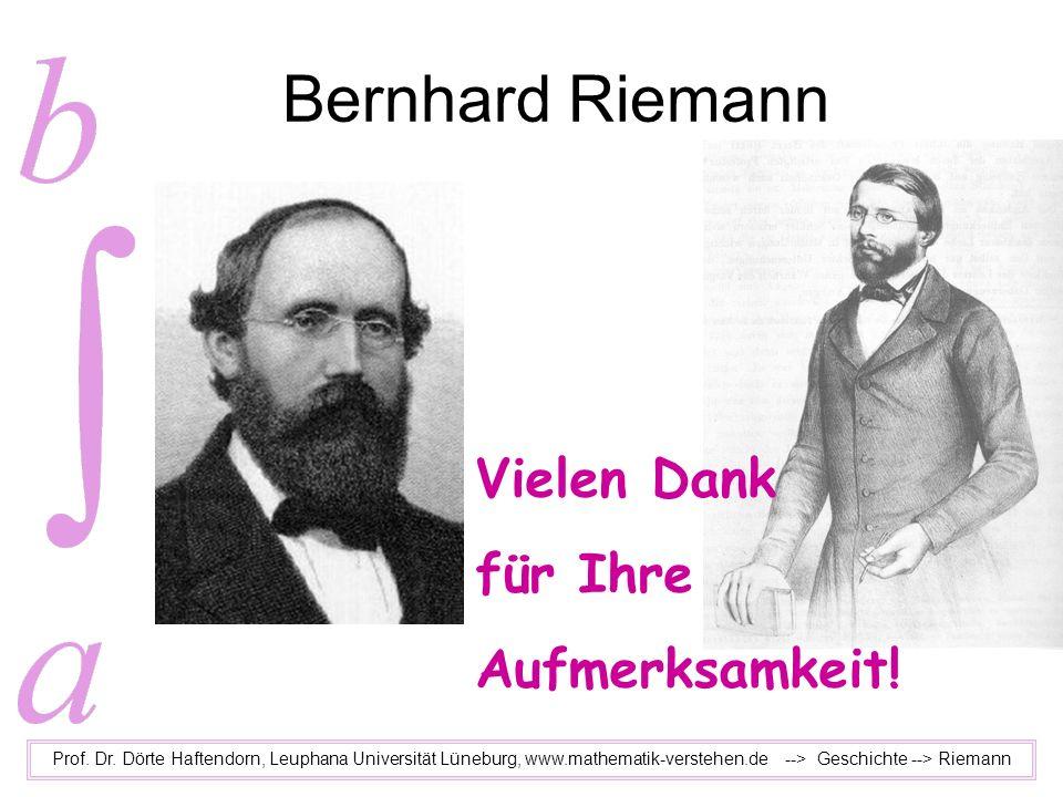 Bernhard Riemann Vielen Dank für Ihre Aufmerksamkeit!