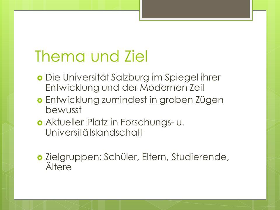 Thema und Ziel Die Universität Salzburg im Spiegel ihrer Entwicklung und der Modernen Zeit. Entwicklung zumindest in groben Zügen bewusst.