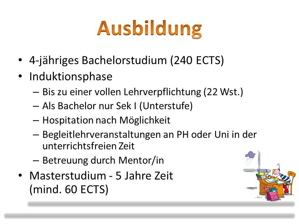 Ausbildung 4-jähriges Bachelorstudium (240 ECTS) Induktionsphase