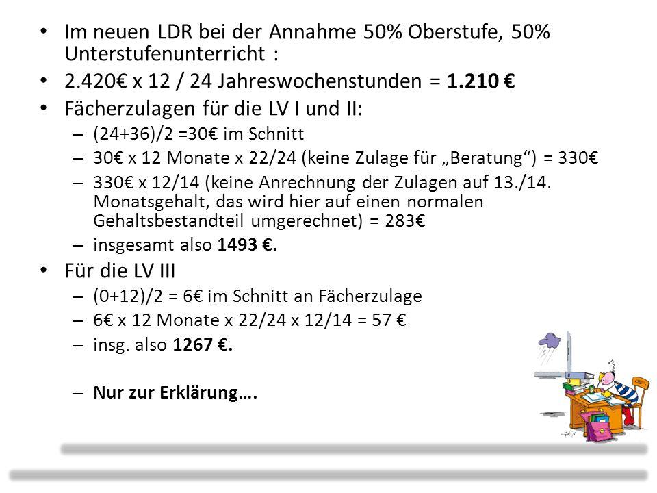 2.420€ x 12 / 24 Jahreswochenstunden = 1.210 €