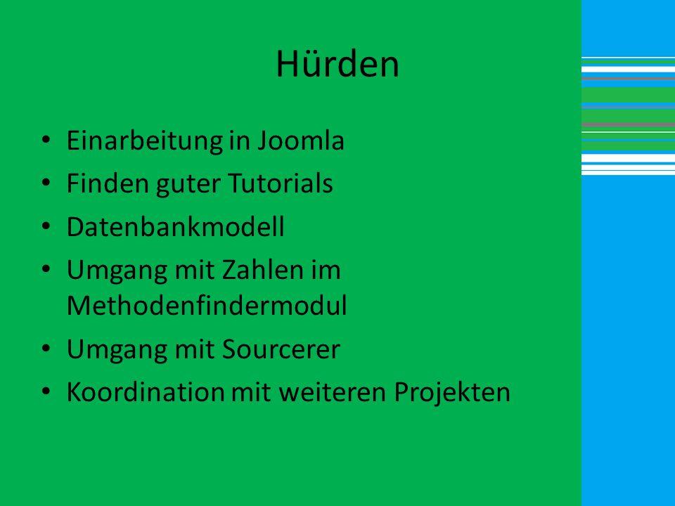 Hürden Einarbeitung in Joomla Finden guter Tutorials Datenbankmodell
