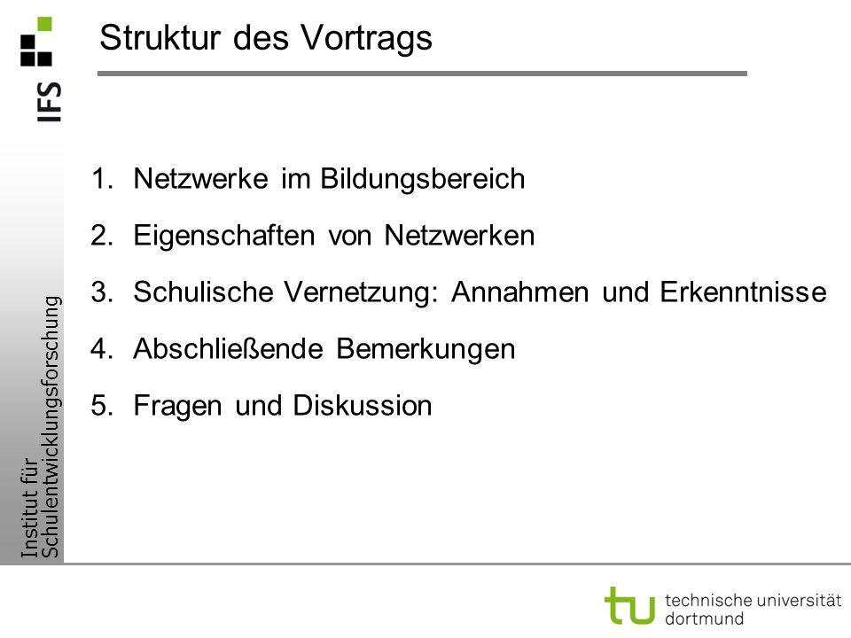Struktur des Vortrags Netzwerke im Bildungsbereich