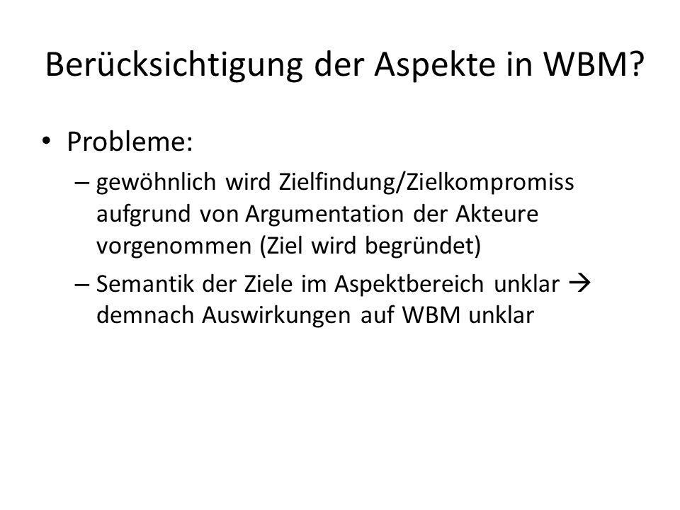 Berücksichtigung der Aspekte in WBM